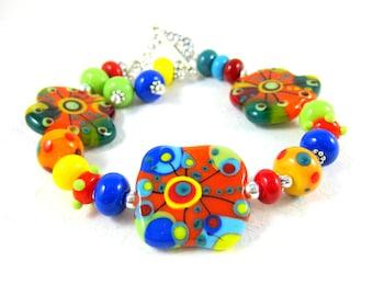 Colorful Glass Bracelet, Statement Bracelet, Funky Jewelry, Lampwork Bracelet, Abstract Rainbow Bracelet Orange Green Blue Yellow Sun Splash