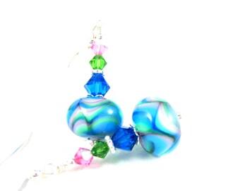 Blue Glass Earrings, Pastel Jewelry, Lampwork Earrings, Beadwork Earrings, Colorful Earrings, Dangle Earrings Lampwork Jewelry Pastel Drops