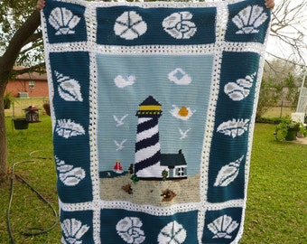 Lighthouse Crochet Afghan With Seashell Trimming       - Extremely Beautiful -