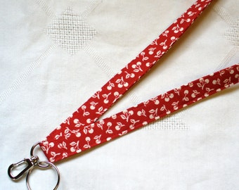 Mary Engelbreit Fabric Lanyard ID Badge Holder Breakaway Lanyard Key Ring Fob White on Red Cherries MTO