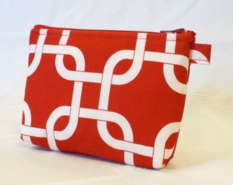 Fabric Gadget Pouch Square Knot Gotcha Cosmetic Bag Zipper Pouch Makeup Bag Cotton Zip Pouch Red White MTO