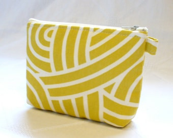 Fabric Cosmetic Bag Gadget Pouch Zipper Pouch Makeup Bag Cotton Zip Pouch Mustard Citrine Yellow Cream MTO