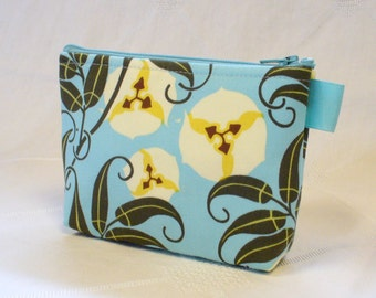 Amy Butler Fabric Gadget Pouch Cosmetic Bag Zipper Pouch Makeup Bag Cotton Zip Pouch Passion Vine Nigella Blue Green Yellow  MTO