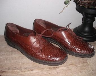 vintage Woven leather lace up oxfords loafers flats ... brown Cool Indie lace up