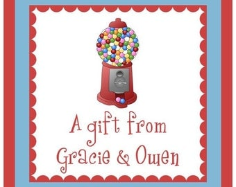 Gumball Machine Sticker, Enclosure Card, Book Plate, or Address Label - Set of 24