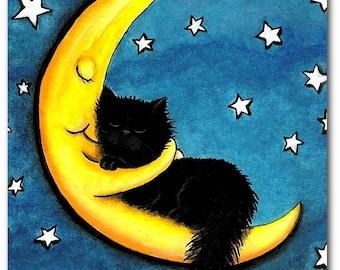 Sweetest of Dreams Moon Hugging Black Cat- Fine Art Print by AmyLyn Bihrle ck207