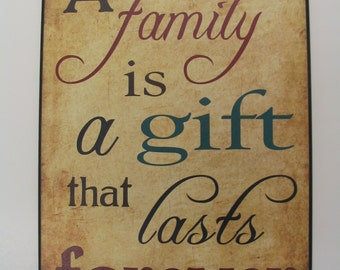 """Gift Of Family,Family Is A Gift,Wooden Art Plaque,12""""x18"""",Family Wall Decor"""