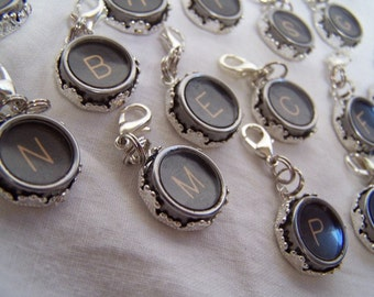 Treasury Item--On Sale and Free Shipping for Repurposed Vintage Typewriter Key Jewelry  initial Pendants