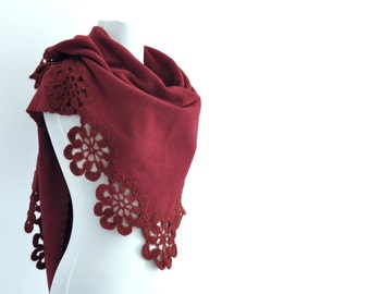 Fleece Scarf Shawl Wedding Shawl Bridal Scarf Wrap Stole with Crocheted Flower Motifs Triangle Red Bordeaux Claret Red Bridal Accessories