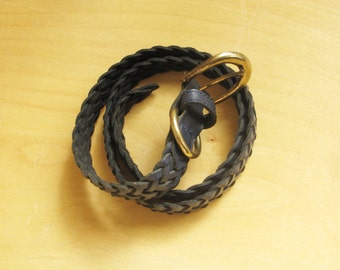 Navy braided leather belt. XS/S
