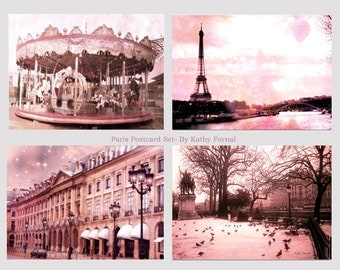 Paris Photography, Pink Paris Note Cards, Paris Photo Notecards, Paris Pink Photo Prints, Paris Baby Girl Nursery Decor, Paris Pink Prints