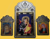 3 Catholic Icons,  20% Off, Free Shipping, Our Lady of Perpetual Help, Mary Magdalen & Future's Angel,  Collages on Steel, Christina Miller.