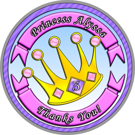 Princess Crown Stickers. Princess Party. Princess Birthday. Princess Stickers. Princess Sticker Seals. Can Customize With a Picture