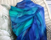 Scarf, Silk, Women, Hand Dyed, Ocean Reef Silk Scarf, Blue Royal Blue Mint Emerald Green