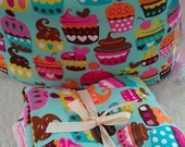 Custom cupcake bedding with bumper set , fitted sheet and crib skirt