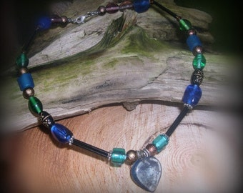 Ocean Blues Heart Dog Sighthound Necklace Medium- OOAK