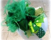 St Patricks Day hairbow, Shamrock Over the Top Bow, Over the Top Hairbow, OTT hairbow, Ostrich Feather Hair Bow, Pageant Hairbows, Green Bow