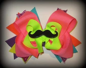 Moustache Bright Neon Rainbow Triple Layered Hair Bow BIG Boutique Funky Hairbows Sparkles
