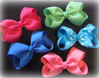 Boutique Hair Bows, Girls Hairbows, Single Layer Bows, Basic Bows, 4 inch Hair Bows, Lot of 16 Hairbows, Medium Bows, Baby Headbands, Bows