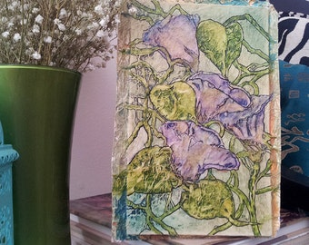 Original Painting MORNING GLORY VINES Zen Inspired Watercolor On Tissue Lynne French