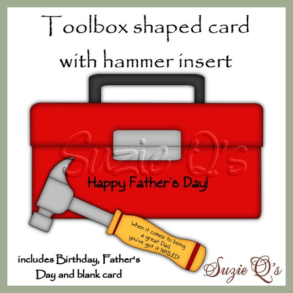 Toolbox shaped card great for Father's Day Birthdays or