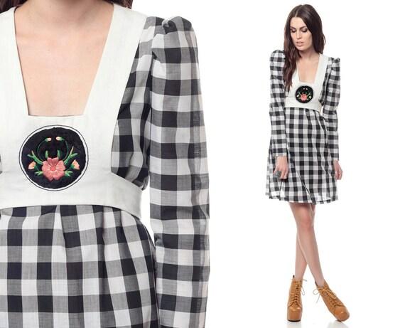 Checkered Mini Dress 70s Bib Puff Sleeve 60s Retro 1970s Babydoll Long Puff Sleeve Prairie Apron Embroidered Vintage Cotton Dress Medium M