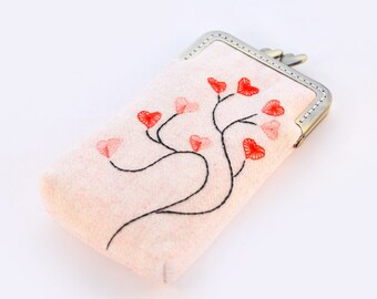 iPhone Case iPhone sleeve gadget case/Glasses Case - Embroidery Heart Tree ( iPhone 7, iPhone 7 Plus, Samsung Galaxy S7 etc. )