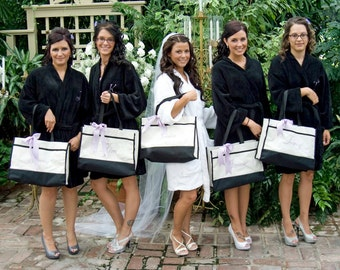 Set of 5, Monogrammed Bridesmaid Tote Bags, Personalized Bridesmaid Gift, Bachelorette Party Gift, Personalized Tote