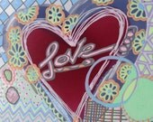 Watercolor Original Painting on Paper Vivid Colorful Abstract Heart Heather Montgomery