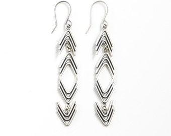"Long geometric arrow shape dangle earrings handmade w/ recycled silver in a unique design with movement in mind - ""Arrowhead Drop Earrings"""
