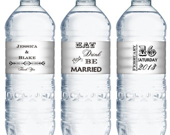 waterproof water bottle labels (water40) custom wedding favors eat drink and be married retro modern personalized