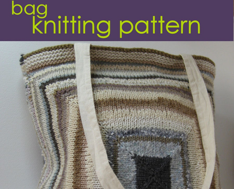 Knitted Tote Bag Pattern : Self-Cover Tote Bag Knitting Pattern PDF