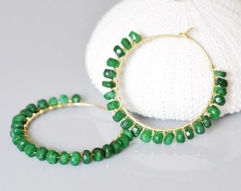 Emerald Hoop Earrings 14k gold filled, wire wrapped, GENUINE EMERALD, precious stone, gemstone, May Birthstone