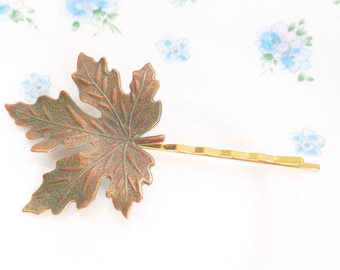 Leaf Hair Pin - Maple Leaf - Woodland Collection - Whimsical - Nature - Bridal - Patina