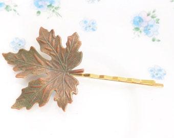 Verdigris Copper Maple Leaf Hair Pin - Maple Leaf Bobby Pin - Woodland Leaf Hair Pin - Whimsical - Bridal Hair Accessory - Green Patina