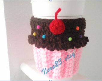 crochet cozy coffee warm tea cupcake cherry and sprinkles. more colors.