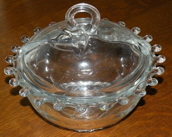 HEISY Glass Company LARIAT Pattern Crystal CaNDY Dish with LiD