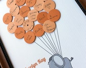 Baby Shower Guest Book - Elephant with Balloons
