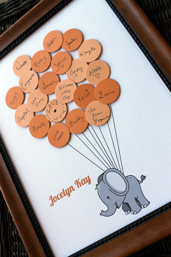 baby shower guest book elephant with balloons