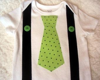 St. Patrick's Day Baby Bodysuit, Tie and Suspender Shirt, St. Patrick's Day Boys Tie Toddler Shirt