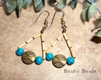 Tribal Turquoise Triangle Dangle Earrings with Brass Coins and Bamboo