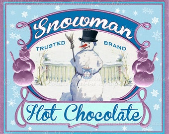 Snowman Cocoa Label Gift Tag Digital Download Vintage Printable Clip Art Image Christmas Collage Sheet