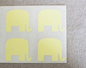 36 Yellow Mr. Elephant  Stickers - Peel and Stick Tags  - Butter Yellow