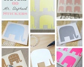 60 Mr. Elephant  Stickers - Peel and Stick Tags, labels, name tags - You Pick the Color