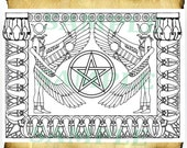 Digital Graphics Egyptian Magick 2 - BoS Wiccan Spell Page Clipart, Book of Shadows coloring page