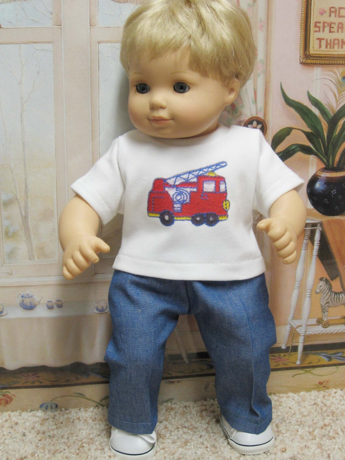 Fire Truck T-Shirt Outfit for Bitty Baby Boy Dolls