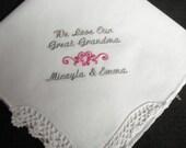 Wedding Handkerchief,  handkerchief for Great grandma, Grandmother, Grandfather  or baptism Machine embroidered handkrchief gift