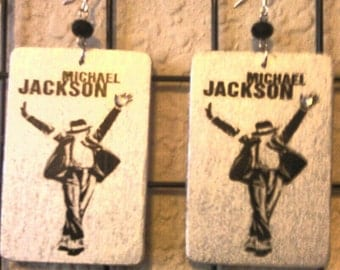 Michael Jackson Hand Painted Wood Earrings