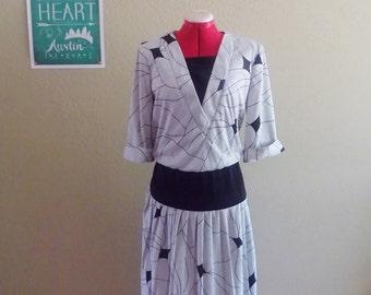 Vintage 80s Gray & Black Iridescent Dress