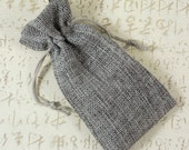 "12 Gray Burlap Gift Bags 3.75 x 6"" Grey Jewelry Wedding Favors Pouch (B41)"